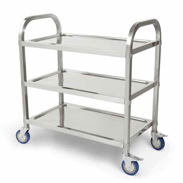 Kitchen Trolley Cabinets Paint 3 Tier Carrito Cocina Hotel Restaurant Clearing Large 90cmx50cm Stainless Steel Catering Cart