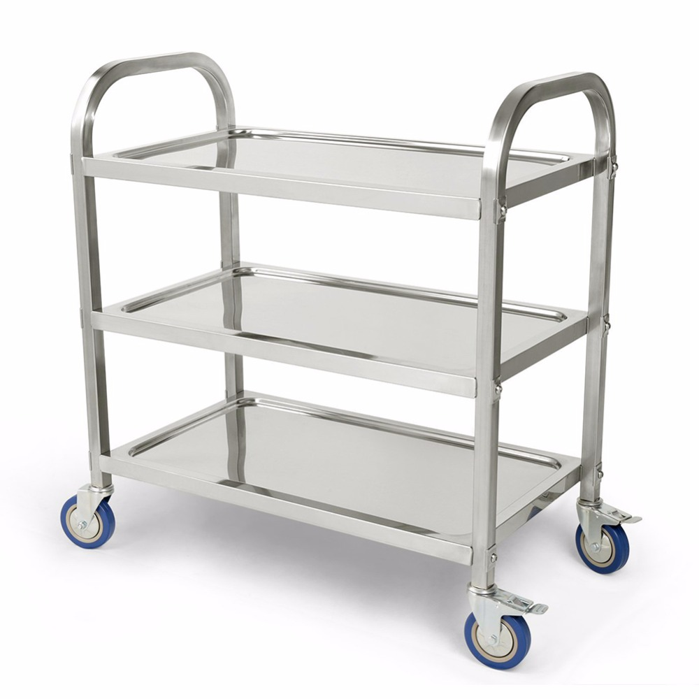 3 Tier Carrito Cocina Hotel Restaurant Kitchen Trolley Clearing Trolley Large 90x50cm Stainless Steel Catering Kitchen Cart HWC