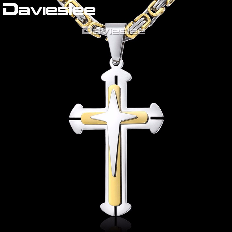 Cross Pendant Necklaces for Men Stainless Steel 3 Layer Knight Cross Mens Necklace Chain Silver Gold Black Davieslee DDLKP179