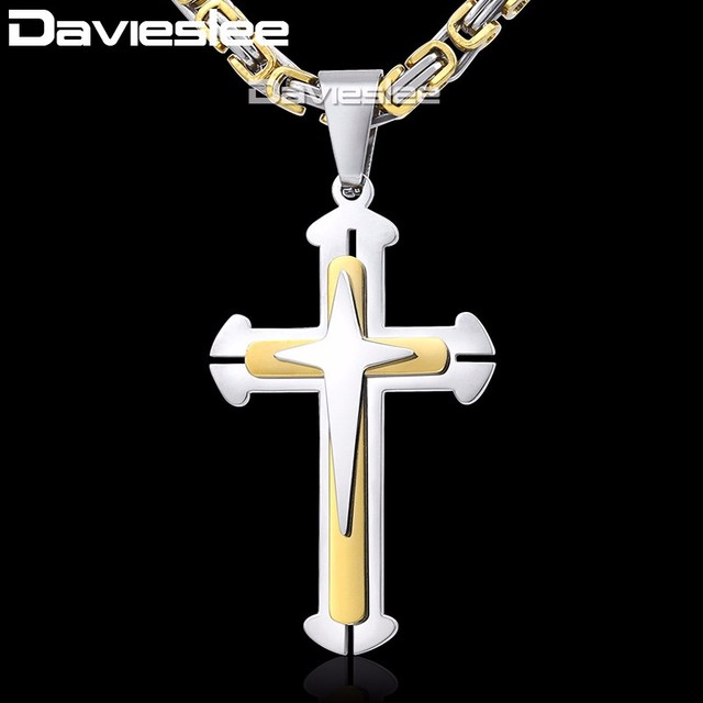 Cross Pendant Necklaces for Men Stainless Steel 3 Layer Knight Cross Mens Neckla