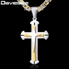 487042773412 Cruz colgante collares para hombres acero inoxidable 3 capa Caballero Cruz  para hombre collar de cadena de plata oro negro DDLKP.