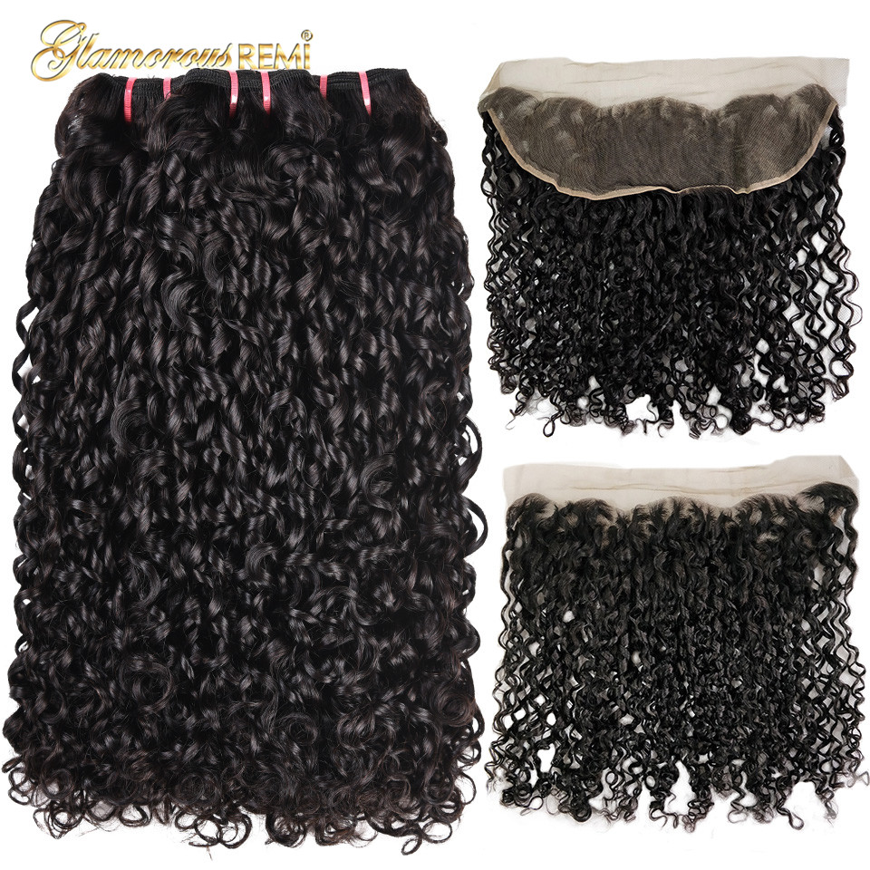Double Drawn Pissy Curls  3 Bundles With 13*4 Lace Frontal 1