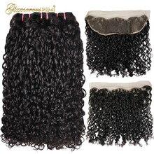 כפול נמשכת שיער טבעי רמי ברזילאי 3 חבילות עם פרונטאלית Flexi תלתל פיקסי Pixy תלתל פומי שיער עם 13*4 תחרה פרונטאלית