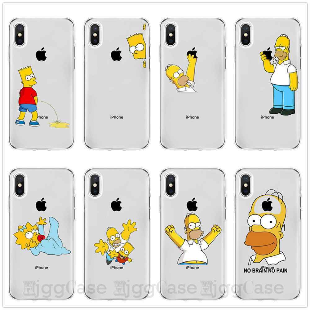 Homer J. Simpson Phone Case For iPhone 5 5s SE 6 6s 7 8 PLUS X XR XS MAX Cute Funny Fashion Cartoon Silicone Phone Cases Cover