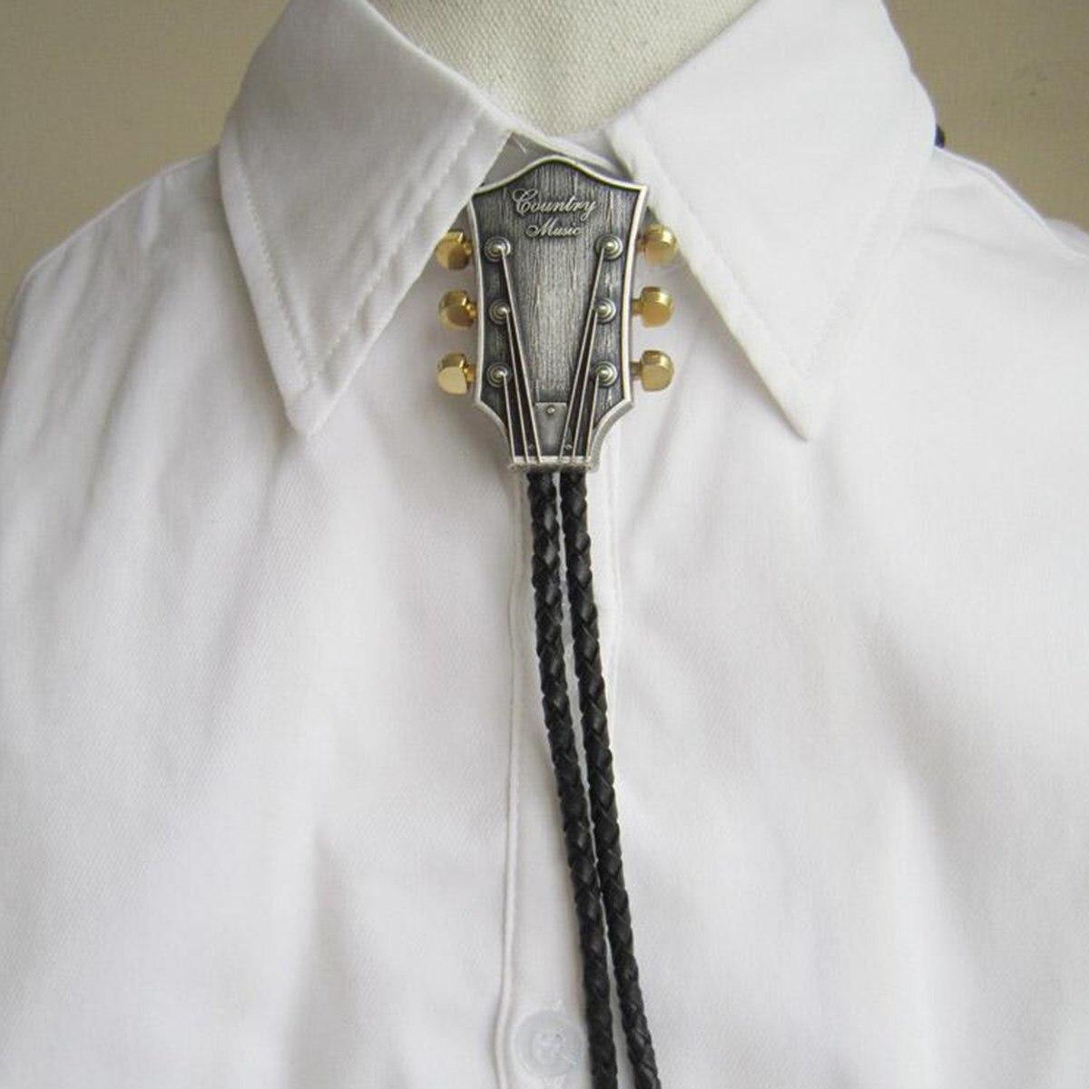 Men Fashion Bolo Tie Cowboy Male Accessories Black PU Leather Bolo Tie With