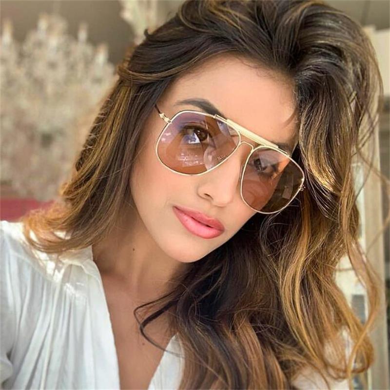 Солнцезащитные очки оверсайз Pilot для женщин 2020 модные новые дизайнерские женские очки металлическая большая оправа мужские солнцезащитные...