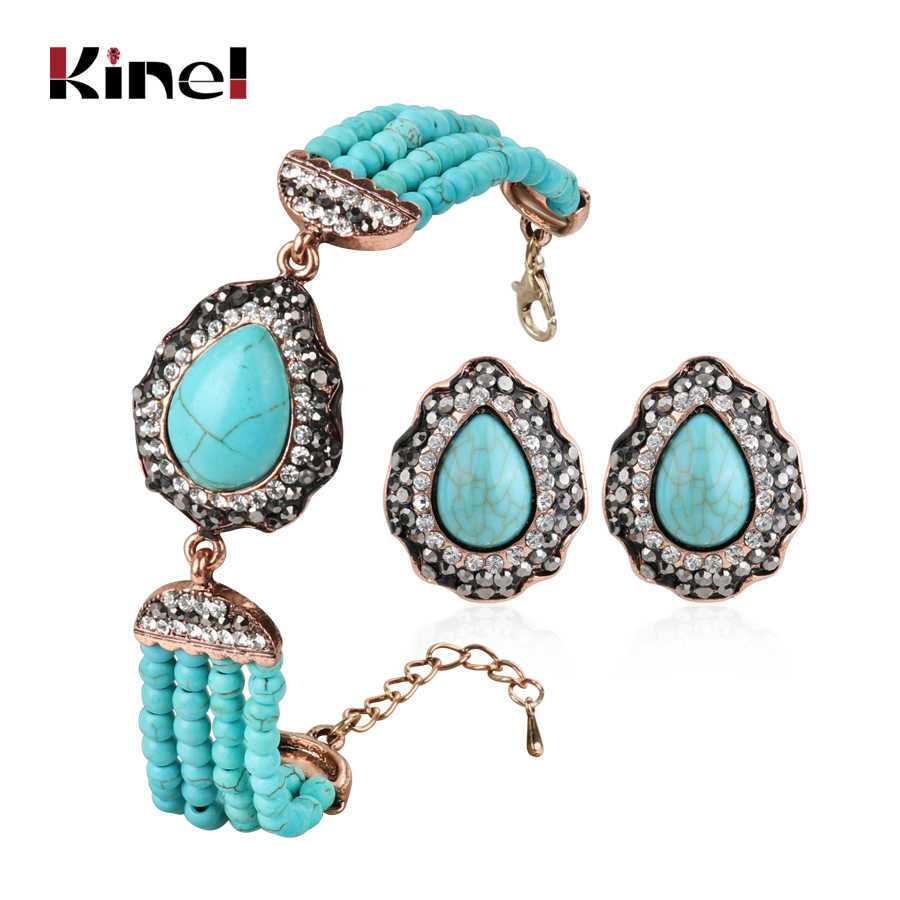 Kinel Bohemia Jewelry Sets Beaded Handmade Stone Beads Bracelets And Earrings For Women Antique Gold Color Vintage Jewelry Gift
