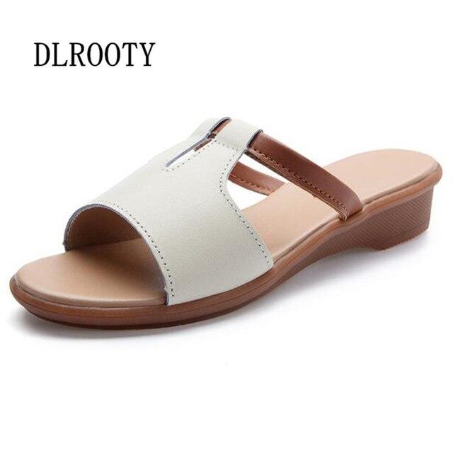 Mulheres Sandálias Sapatos de Verão 2018 Sapatos de Couro Genuíno Mulher Flip Flops Cunhas Plataforma Sólida Moda Feminina Escorregas Senhoras Plus Size