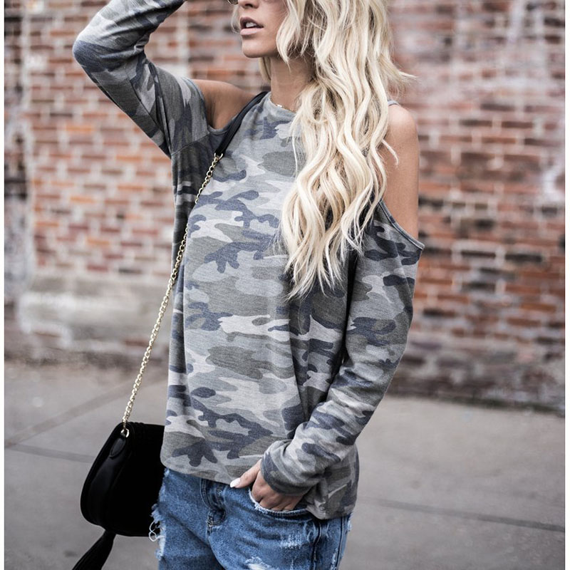 <font><b>2018</b></font> Women <font><b>Sexy</b></font> T Shirt <font><b>Camouflage</b></font> Ladies Costume Long Sleeve Off Shoulder Cotton Shirt Casual Tops Autumn Fall Fashion New Sale image