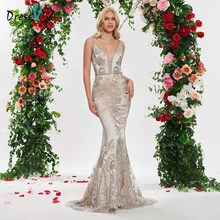 Dressv elegant mermaid v neck wedding dress sequins beading backless lace floor length simple bridal gonws dresses