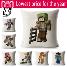 Printed Minecraft Linen Cotton Cushion Cover Cartoon Games Sofa Throw Pillow Case Decoration Pillowcase Sofa  45x45 cm Peiyuan linen beach printed sofa cushion pillow case