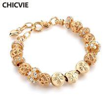 Chicvie браслет из хрустальных бусин золотого цвета для женщин