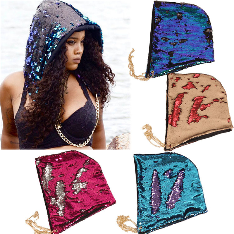Bling Bling Sequin Mermaid Hats Toys Halloween Kid's Party Accessory Game Playing Hats Gift Hat
