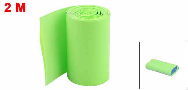 Uxcell 2 metry 50mm/56mm szerokość PVC termokurczliwe Wrap Tube niebieski dla 2X18650 baterii czarny niebieski jasny zielony