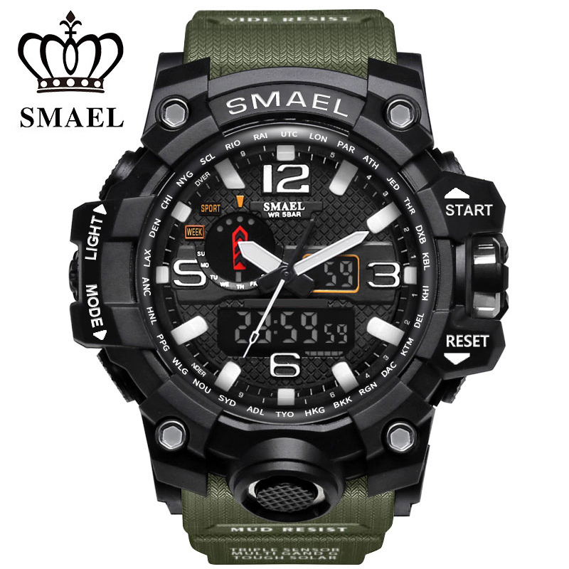Digital Watches Top Brand Men Sports Watches Dual Display Analog Digital Led Electronic Quartz Wristwatches Waterproof Swimming Military Watch Choice Materials
