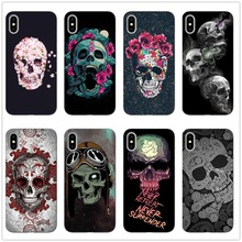 Fashion Retro Style Flower Skull Phone Case For iphone X 8 8Plus 7 7Plus 6 6S Plus SE 5 11 11PRO MAX Soft Black Back Cover Coque стоимость