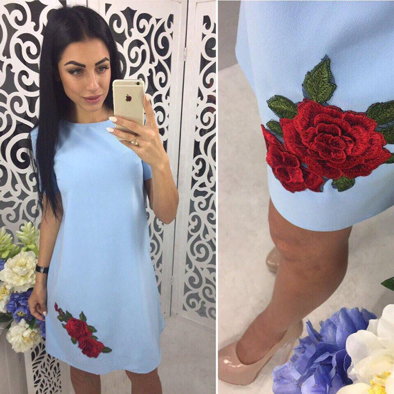 Summer Dress 2018 Women O-neck Applique Cute Casual Mini Dress Solid Elegant Sexy Party Dresses vestido Sun Dress Plus Size