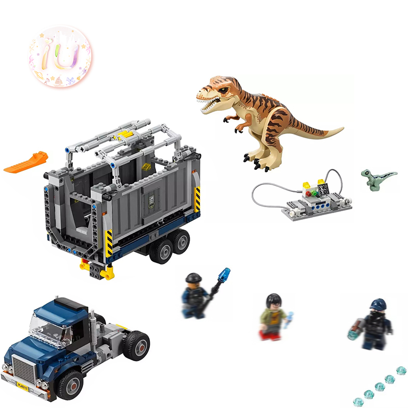 Legoings75933 Jurassic World T. Rex Transport Set Building Blocks Birthday Gifts Toys For Children 628 Pcs Compatible BELA 10927