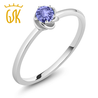 GemStoneKing 0 22 Ct Round Natural Red Ruby Women S Ring Real 10K White Gold Solitaire