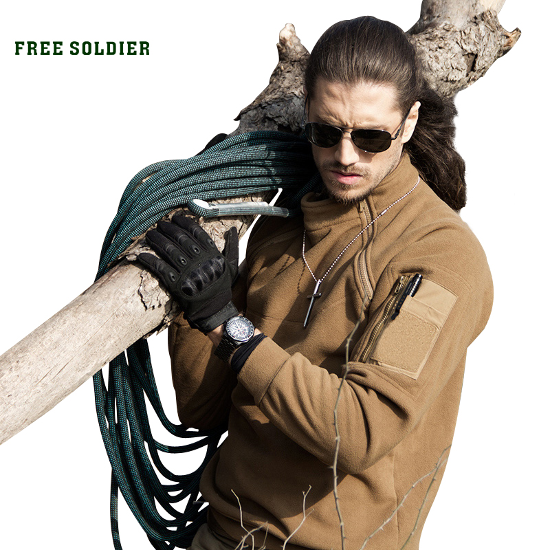 FREE SOLDIER Outdoor Tactical Men's Coat For Camping Hiking Winter Clothing With Fleece Fabric fleece lined jacket with epaulet