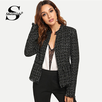 Sheinside Black Autumn Jacket Women Zip Up Hem Peplum Tweed Coat Casual Ladies Outerwear 2018 Clothes Womens Jackets And Coats