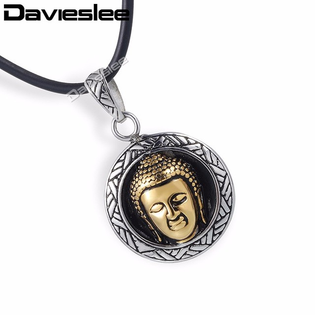 Davieslee womens mens chain buddha pendant necklace chain 316l davieslee womens mens chain buddha pendant necklace chain 316l stainless steel round pendant silver gold tone aloadofball Gallery