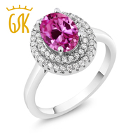 2.85 Ct Oval Pink Created Sapphire 925 Sterling Silver Ring