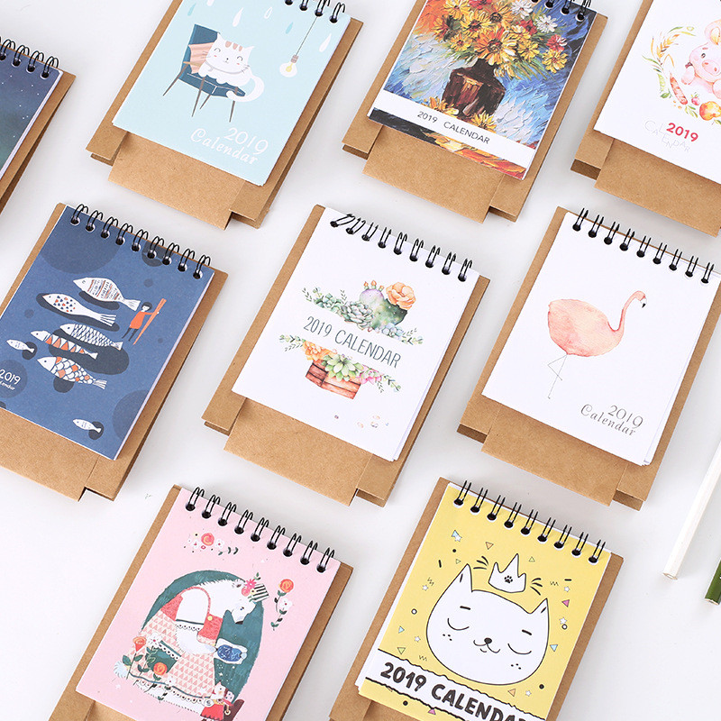Coloffice Cute Cartoon Kraft Paper Printing Calendar Creative Table Calendar 12.5*9cm Students Stationary Office&School Supplies 19