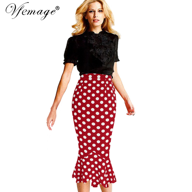 Vfemage Womens Summer Vintage Polka Dot High Waist Elastic Work Office Party Slim Mermaid Pencil Midi Skirt XS, XL, XXL 607