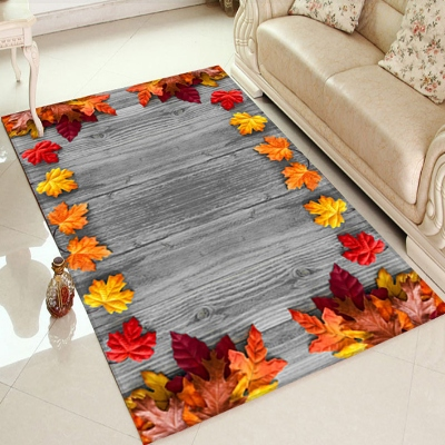Else Brown Wood On Autumn Red Yellow Leaves 3d Print Non Slip Microfiber Living Room Decorative Modern Washable Area Rug Mat