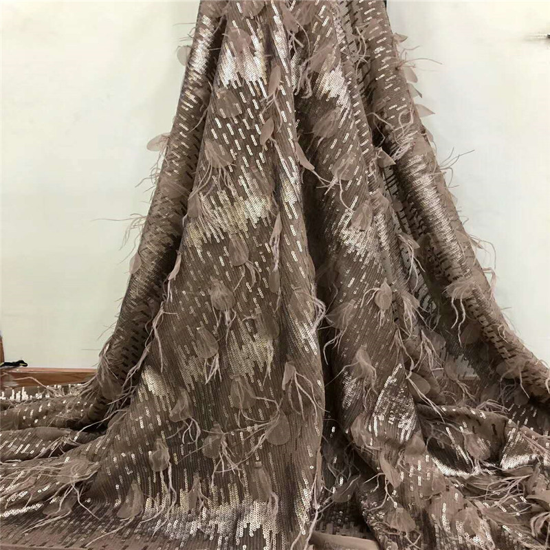 Latest African fabric for wedding 2019 brown french 3D lace fabric with gold sequins high quality nigerian lace fabrics F785 1-in Lace from Home & Garden    1