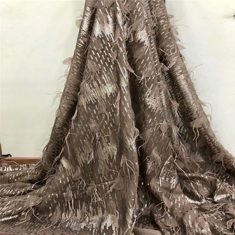 Última tela africana para boda 2019 tela de encaje marrón francés 3D con lentejuelas doradas tela de encaje nigeriano de alta calidad F785 1-in encaje from Hogar y Mascotas    1