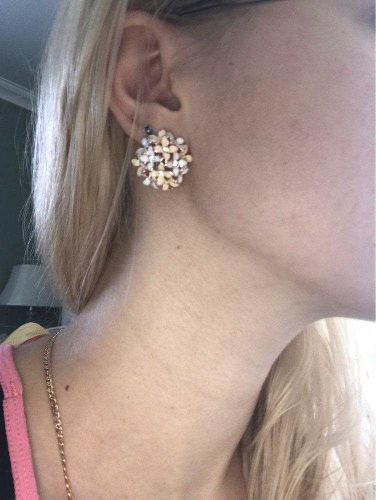 Elegant Flower Crystal Stainless Steel Rhinestone Stud Earrings*