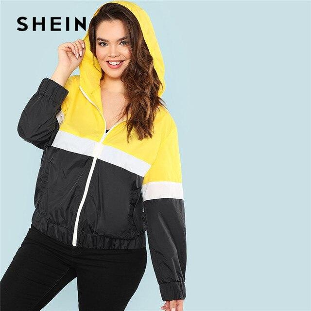 280835c7bdc SHEIN Colorblock Streetwear Zipper Closure Plus Size Womens Hooded Jacket  2018 New Autumn Cut And Sew
