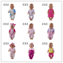 9color choose =jumpsuits+hat+Nipple Wear fit 43cm Baby Born Zapf Doll Clothes , Children Best Gift