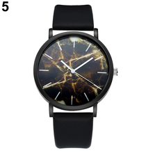 2017 watches Fashion Men's Leather Band Marble Dial Analog Casual Quartz Wrist Watch