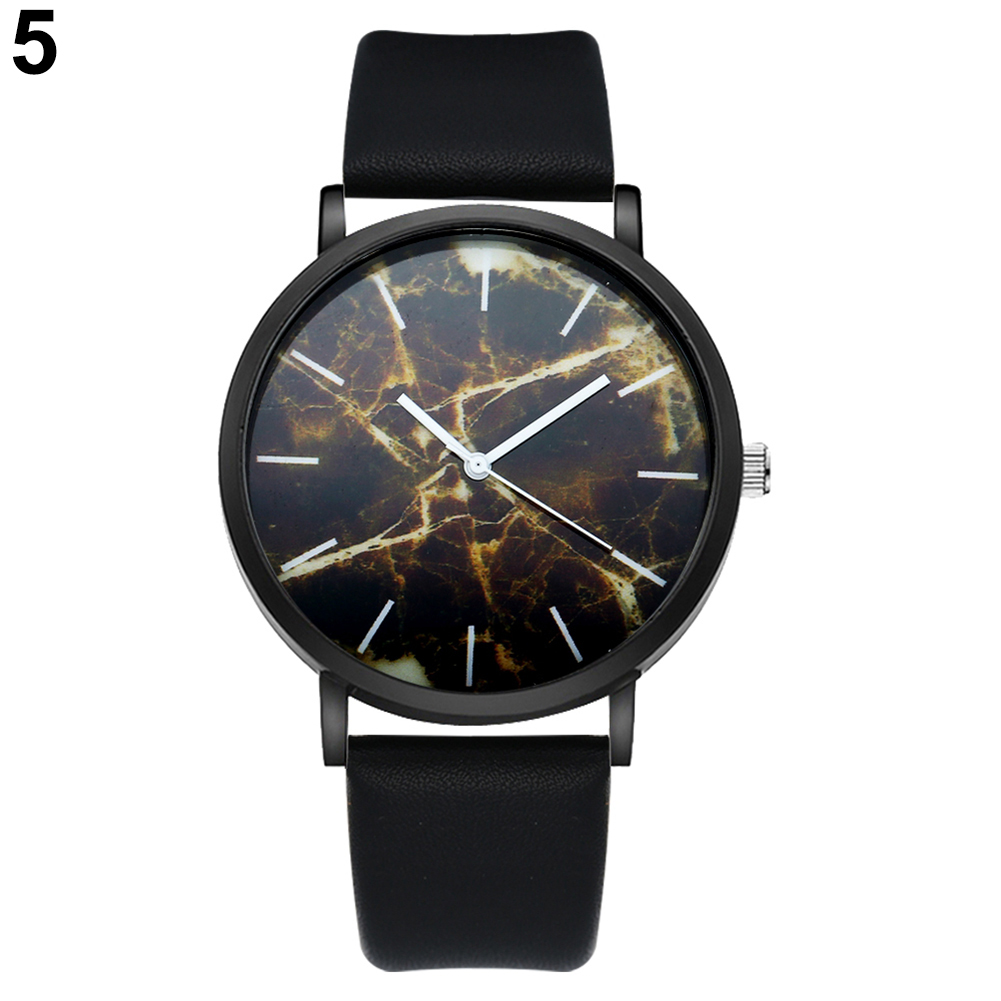 2017 watches Fashion Men's Leather Band Marble Dial Analog Casual Quartz Wrist Watch female simple fashion casual wrist watch women love heart dial leather band analog alloy quartz wristwatch loves gift