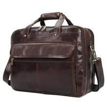 15 «дюймовый всеобщая Портфели сумки для Для мужчин 2018 натуральная кожа Винтаж бренд большой Ёмкость коричневый Crossbody Сумка