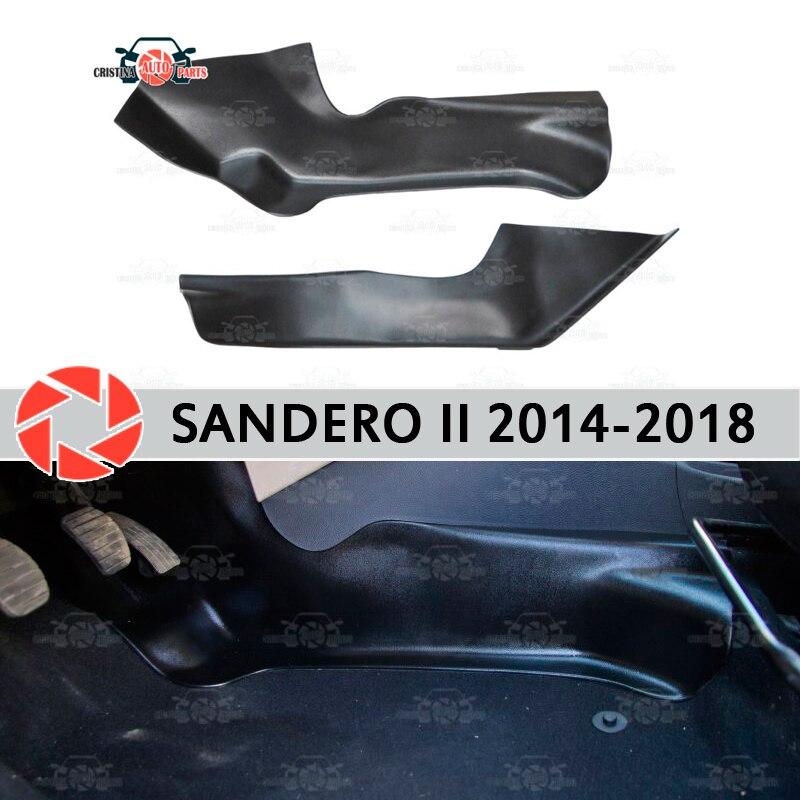 Placa protetora tampa do interior do túnel para o Renault Sandero 2014-2018 sob os pés da guarnição de proteção acessórios tapete do carro styling