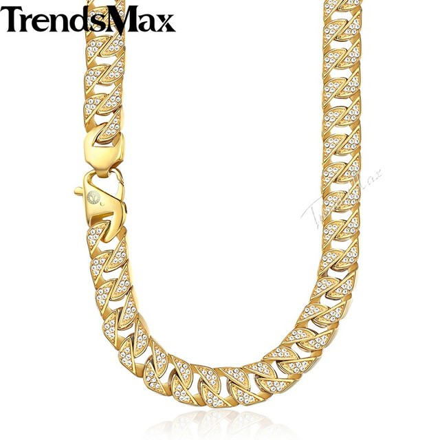 Trendsmax Hip Hop Iced Out Full Rhinestone Men Necklace Gold Stainless Steel Chain Necklace for Men Jewelry KHN109