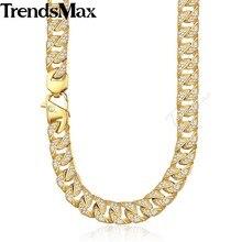 Trendsmax ヒップホップはフルラインストーン男性ネックレスゴールドステンレス鋼チェーン男性ジュエリー KHN109