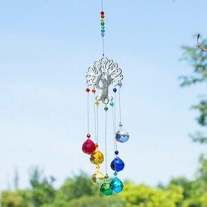 Image 4 - H & D 크리스탈 Suncatcher 차크라 색상 공 프리즘 트리 생명의 창 매달려 펜던트 레인보우 태양 포수 크리스마스 홈 장식