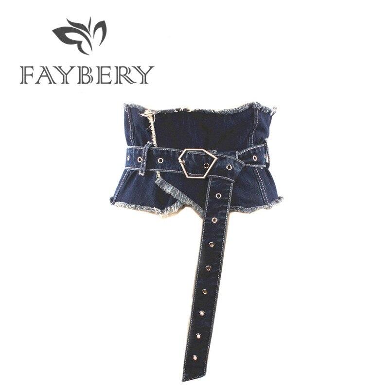 European Style Wide Denim Women Belts For Women Jeans Female Belt Waistband for Party Dress Fashion Women's Clothing Accessories