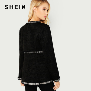 Image 3 - SHEIN noir élégant Highstreet ouvert avant effiloché bord solide mode veste 2018 automne bureau dame femmes manteau et vêtements dextérieur