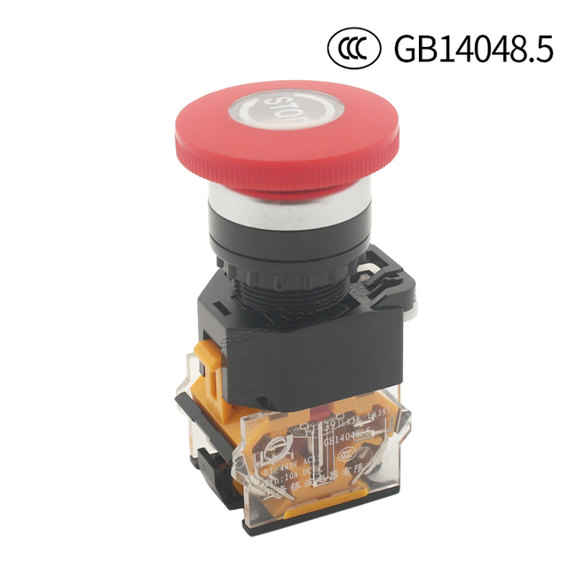 22mm Maintained Emergency Stop Mushroom Cap Push Button Switch