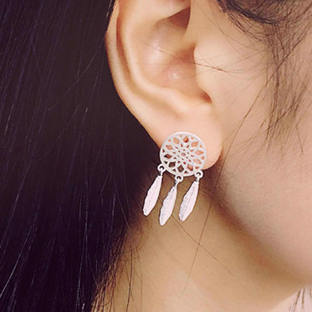 New Fashion Silver Color Bohemia Nationality Feather Dream Catcher Drop Earrings For Women Jewelry High Quality