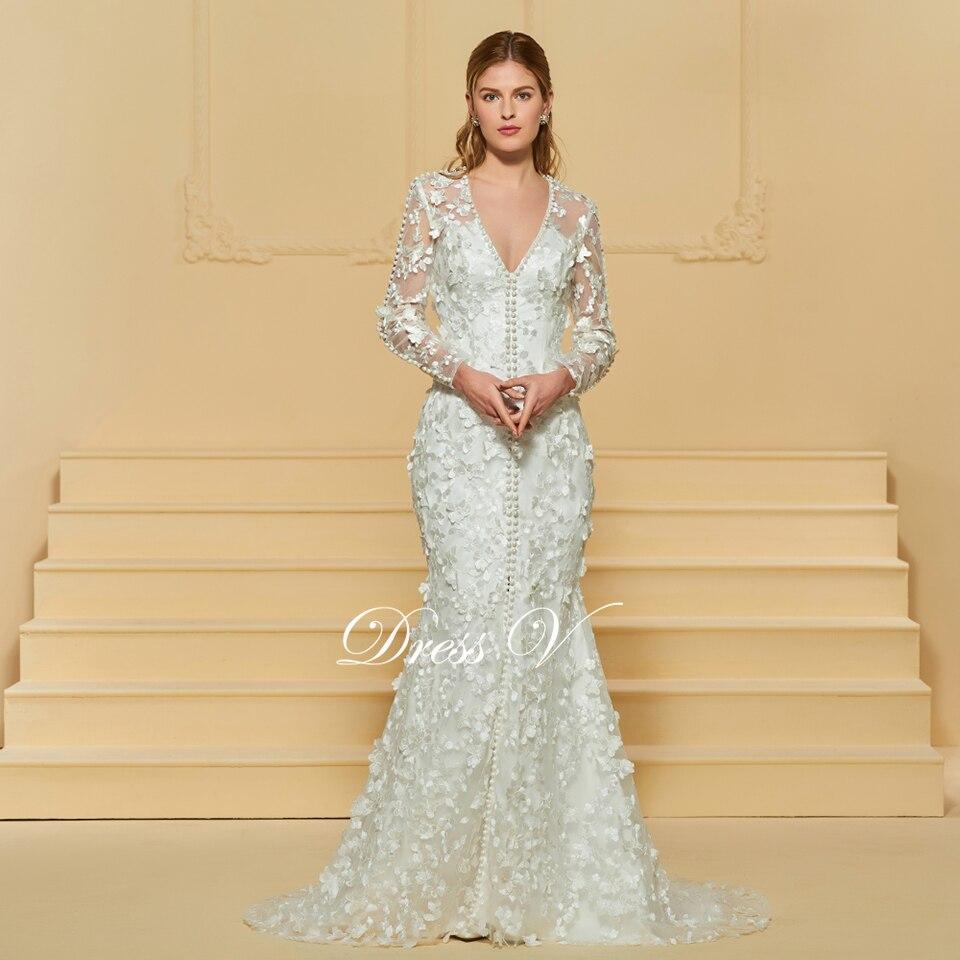Dressv elegant trumpet v neck lace wedding dress long sleeves beading floor  length bridal outdoor church wedding dresses 0fd4f9d758cd