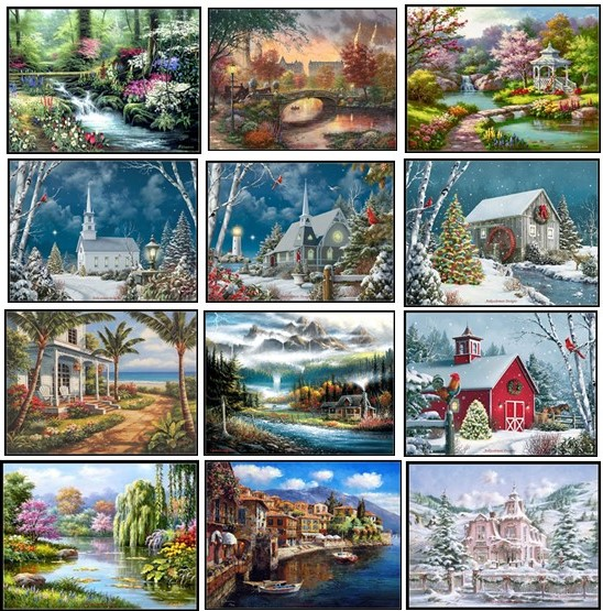 Embroidery Counted Cross Stitch Kits Needlework - Crafts 14 Ct DMC Color DIY Arts Handmade Decor - Landscape 243wx182h