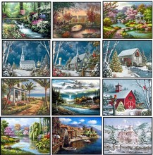 Embroidery Counted Cross Stitch Kits Needlework   Crafts 14 ct DMC Color DIY Arts Handmade Decor   Landscape 243wx182h