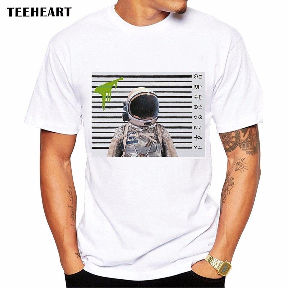Human design t shirt - 2017 Summer Astronaut Mug Shot Design T Shirt Men S High Quality Alien Police Station Printed